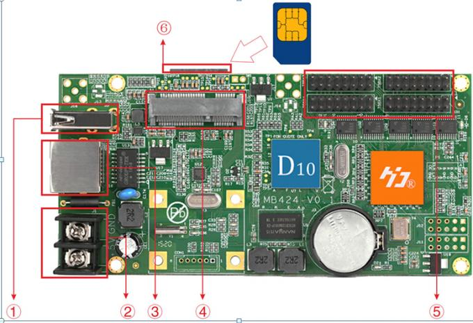 D10 HD-D10 RGB full color 256 gray scale LED display screen controller card 4 groups HUB75 supports 384*64pixels