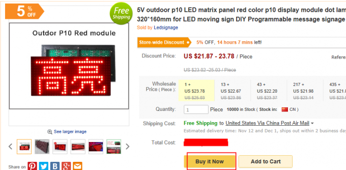 Outdoor High Brightness Red P10 LED module for Single color LED display Scrolling message led sign 320*160mm 32*16pixels