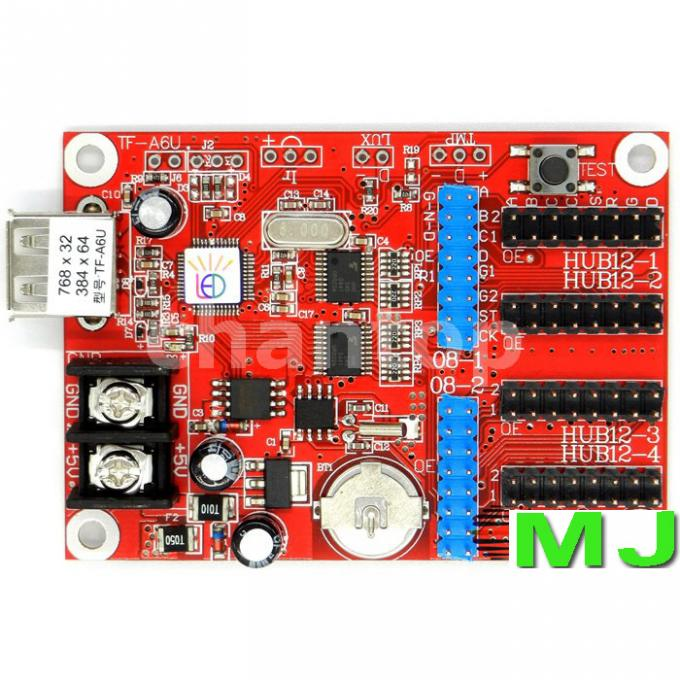 TF-A6U USB led controller p10 display single & dual color control card 768*32,384*64 pixels support for led board