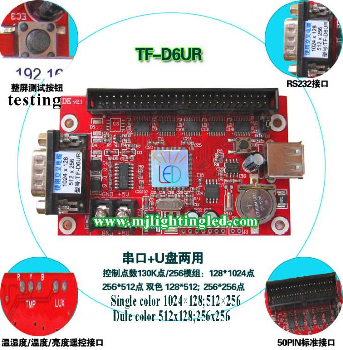 TF-D6UR 1024*128dots large area RS232 and USB communication single&dual color LED Screen Control Card display controller