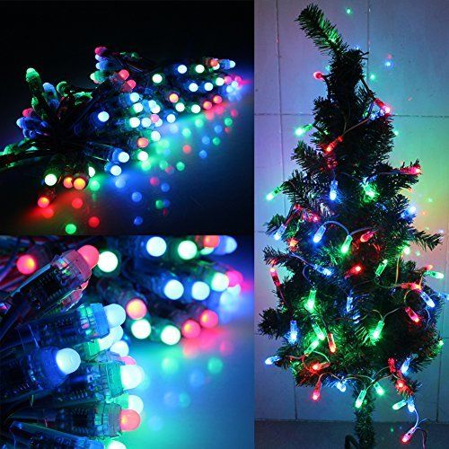 5V Fullcolor LED Party light 50PCS 1903IC RGB 12mm Pixels digital Addressable String Christmas tree decoration
