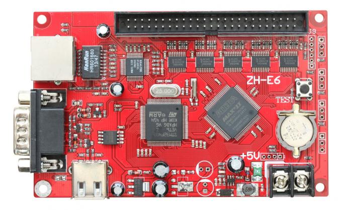 ZH-E6 control card Network+USB+RS232 Port 256*2048 Pixels 1xpin50 Single & Dual color LED Display Controller Card
