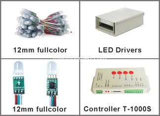China 12MM 5V Fullcolor led pixel 1903IC flexible string pixels lights T-1000S controllers programmable advertising signs supplier