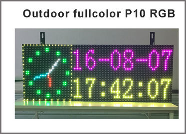 China SMD P10 RGB LED Sign Moving Message Display Temperature and time display outdoor led advertising electronic scoreboard distributor
