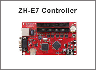China ZH-E7 LED display control card Network+USB+RS232 Port 512*1024,128*4096 Pixels 2xpin50 Single & Dual color Controller factory