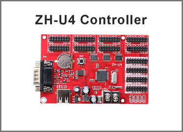 China ZH-U4 display control card USB+RS232 4xhub08 8xhub12 for for P10 single & dule color advertising led sign factory