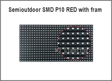 China Semioutdoor red P10-SMD led panel module light with fram on back 320*160mm 32*16pixels 5V for advertising message distributor
